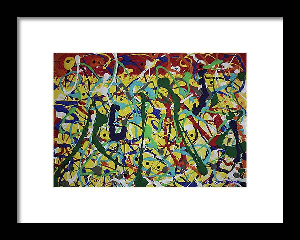 Abstract Framed Print featuring the painting Fun Time by Pam Roth O'Mara