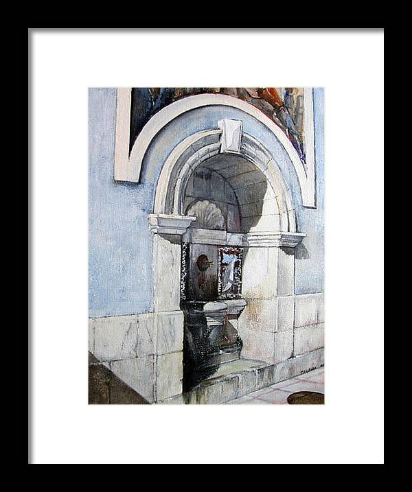Fuente Framed Print featuring the painting Fuente Castro Urdiales by Tomas Castano