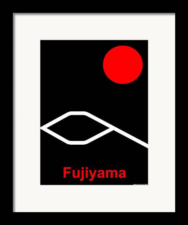 Fuji Framed Print featuring the digital art Fujiyama by Asbjorn Lonvig