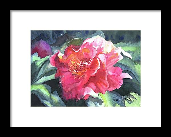 Camellia Framed Print featuring the painting Full Blown by Karen Winters
