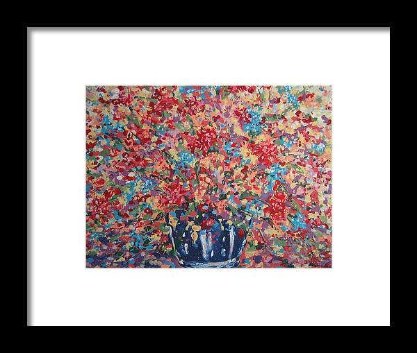 Flowers Framed Print featuring the painting Full Flower Bouquet. by Leonard Holland