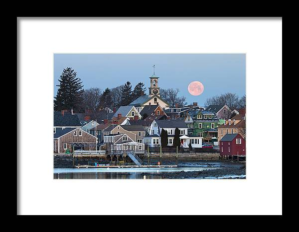 Portsmouth Framed Print featuring the photograph Full Moon Over Portsmouth by Eric Gendron
