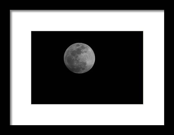Moon Framed Print featuring the photograph Full Moon Over Xenia Ohio by Caleb Bynum