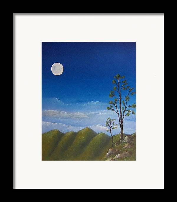 Landscape Framed Print featuring the painting Full Moon by Tony Rodriguez