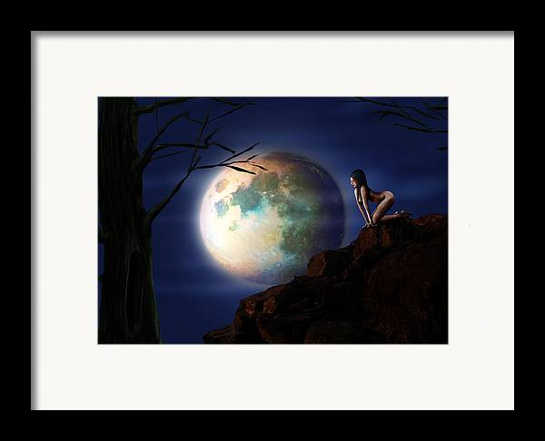 Moon Framed Print featuring the digital art Full Moon by Virginia Palomeque