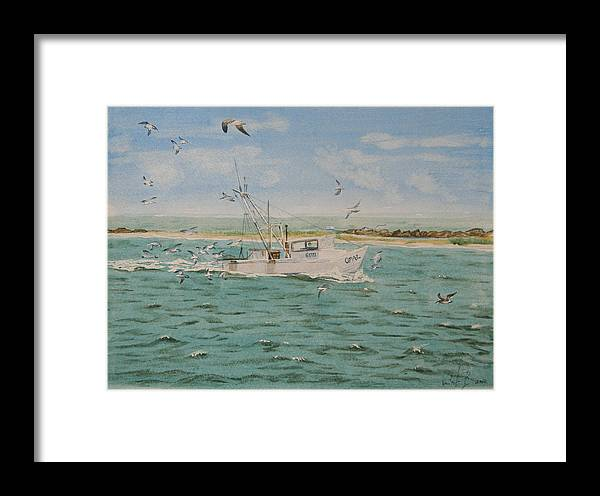 Seascape Framed Print featuring the painting Full Nets by Monika Degan