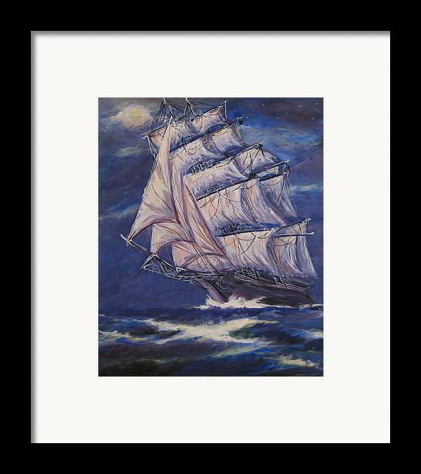 Sailing Ship Framed Print featuring the painting Full Sails Under Full Moon by Thomas Restifo