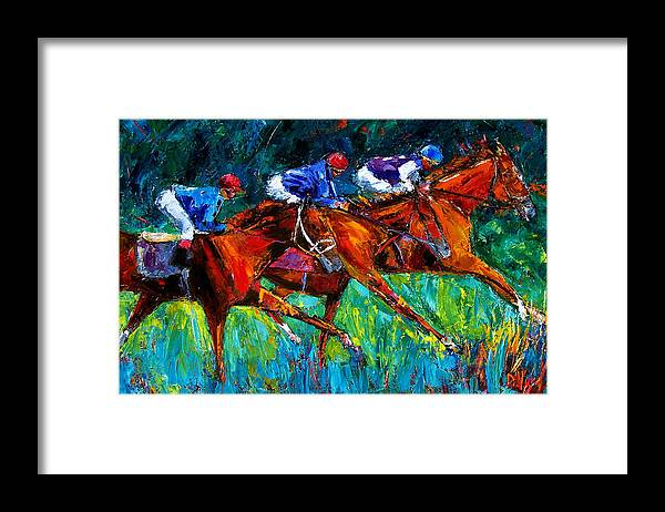 Horse Race Framed Print featuring the painting Full Speed by Debra Hurd