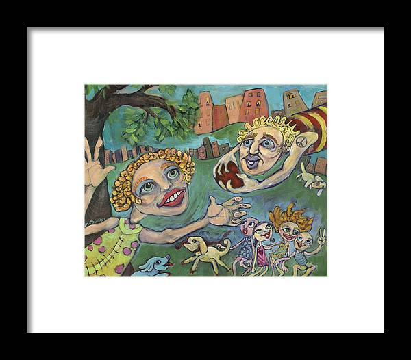 Whimsical Framed Print featuring the painting Fun At The Park by Michelle Spiziri