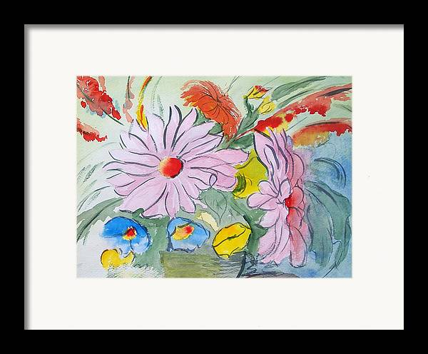 Floral Framed Print featuring the painting Fun Flowers by Robert Thomaston