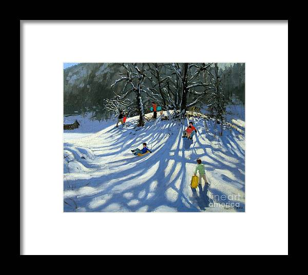 Winter Framed Print featuring the painting Fun In The Snow by Andrew Macara