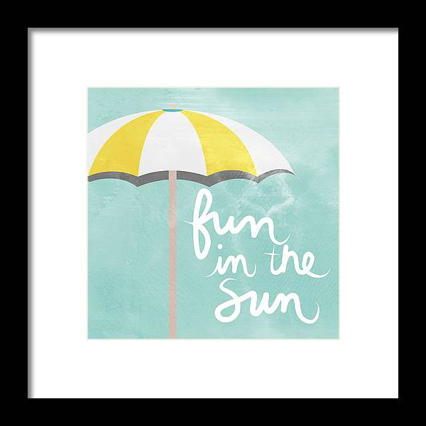 Beach Framed Print featuring the painting Fun In The Sun by Linda Woods