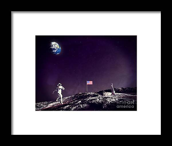 Fun On The Moon Framed Print featuring the digital art Fun On The Moon by Methune Hively