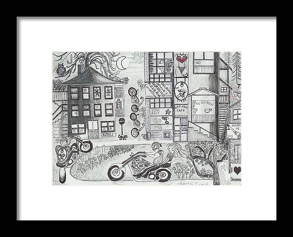 Fun Time Framed Print featuring the drawing Fun Time In Jerome Az by Ingrid Szabo
