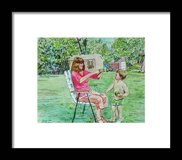 Summer Framed Print featuring the painting Fun With Grandma by Jeannie Allerton