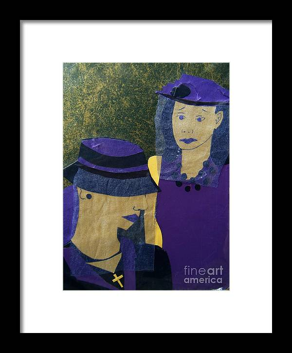 Purple Framed Print featuring the mixed media Funeral Masks by Debra Bretton Robinson