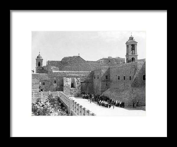 Bethlehem Framed Print featuring the photograph Funeral Procession In Bethlehem During 1934 by Munir Alawi