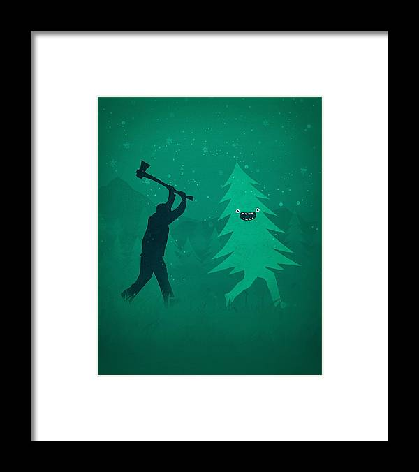 Cute Framed Print featuring the digital art Funny Cartoon Christmas tree is chased by Lumberjack Run Forrest Run by Philipp Rietz
