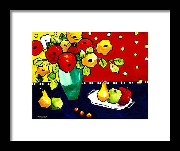 Painting Framed Print featuring the painting Funny Flowers And Fruit by Carrie Allbritton