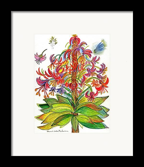 Flowers Nature Botany Drawing Julie Richman Flora Pencil Framed Print featuring the painting Funny Flowers On Green Plant by Julie Richman