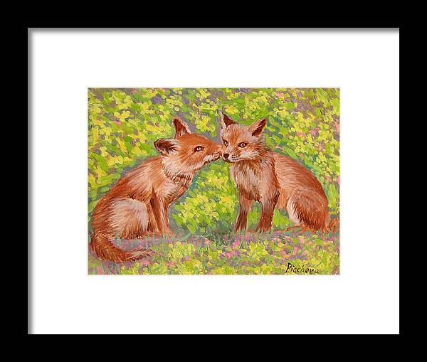 Animals Framed Print featuring the painting Funny Foxes .2007 by Natalia Piacheva