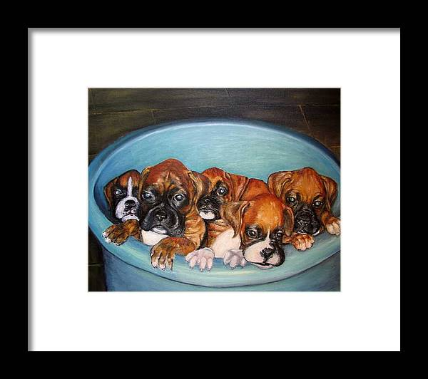 Oil Framed Print featuring the painting Funny Puppies orginal oil painting by Natalja Picugina