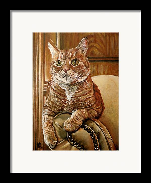 Cat Framed Print featuring the painting Furby by Cara Bevan