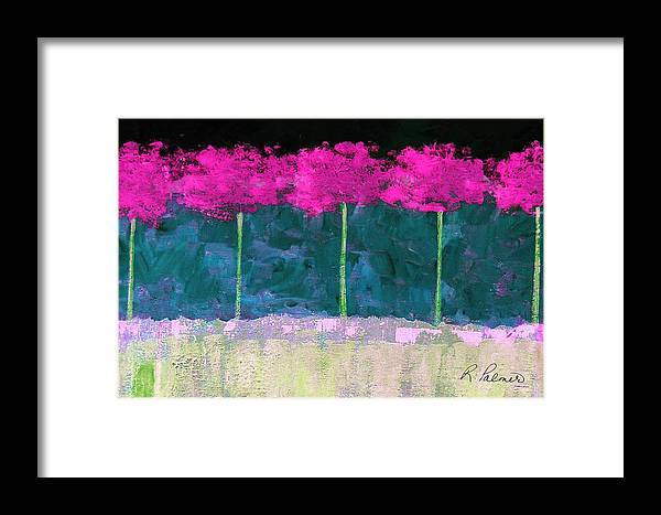 Abstract Framed Print featuring the painting Fuschia Trees by Ruth Palmer