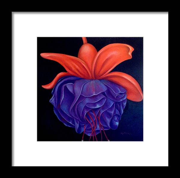 Flowers Framed Print featuring the painting Fussia by Elsa Gallegos