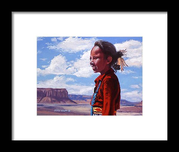 Navajo Indian Southwestern Monument Valley Framed Print featuring the painting Futures Bright by John Watt