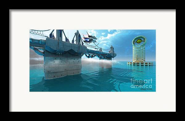 Space Art Framed Print featuring the painting Futuristic Skyway by Corey Ford