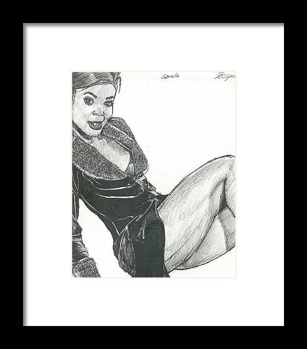 Framed Print featuring the drawing Gabby by Norman Sparrow