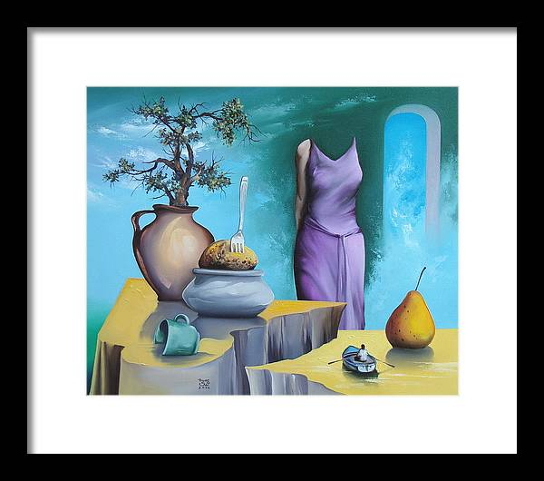 Framed Print featuring the painting Gaia Morgana by Zoltan Ducsai
