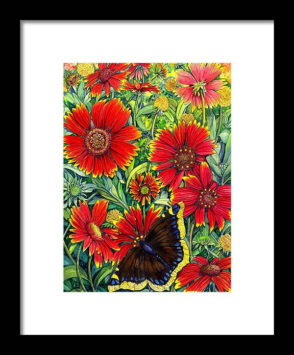 Butterfly Framed Print featuring the painting Gaillardia by Catherine G McElroy