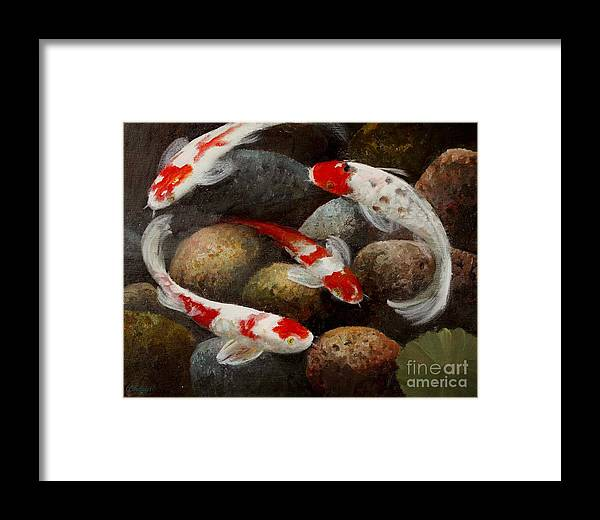 Fish Framed Print featuring the painting Gails Koi Pond by Gail Salitui