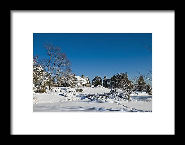 Blue Sky Framed Print featuring the photograph Gairloch House In Winter by Mark Emmerson
