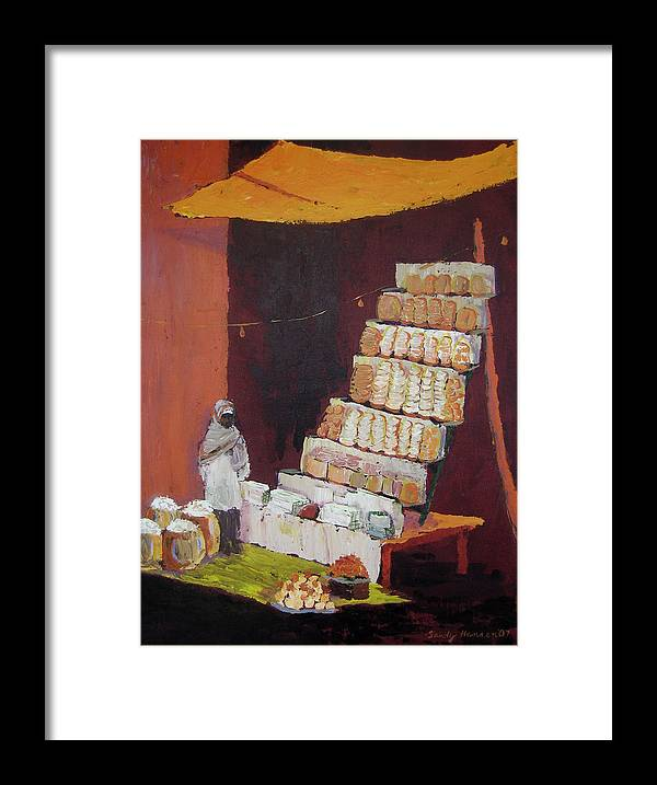 Cityscape Framed Print featuring the painting Gajak Sweet Shop by Art Nomad Sandra Hansen
