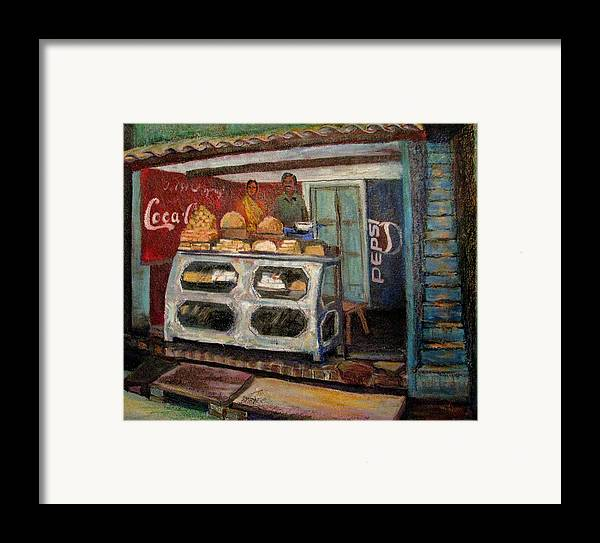 Gajak Framed Print featuring the painting Gajak Sweet Shop Orchha by Art Nomad Sandra Hansen