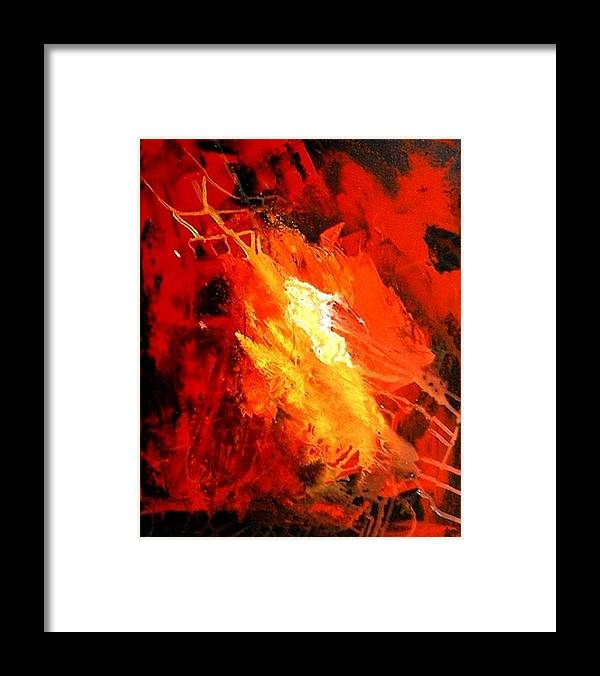 Red Framed Print featuring the painting Galaxy Abstract1of4 by Teo Alfonso