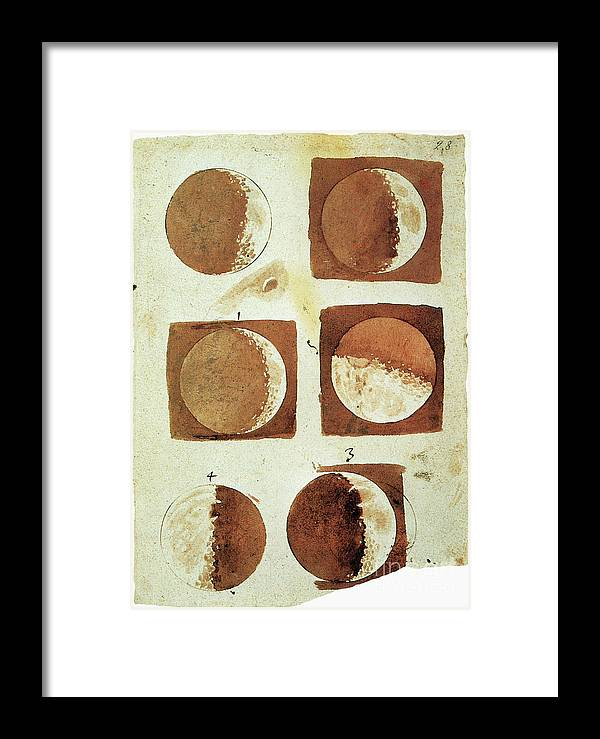 1610 Framed Print featuring the painting Galileo - Moon by Granger