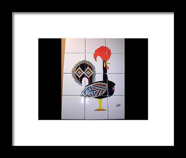 Ceramic Tile Framed Print featuring the ceramic art Galo De Barcelos by Hilda and Jose Garrancho