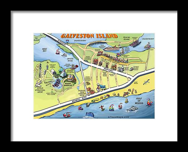 Galveston Framed Print featuring the digital art Galveston Texas Cartoon Map by Kevin Middleton