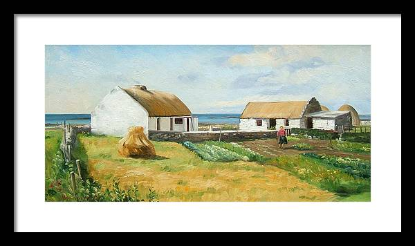 Farm By The Sea- Co. Galway Framed Print featuring the painting Galway Coast. by Norman Kelly