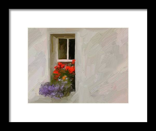 Art Painting Landscape Framed Print featuring the digital art Galway Window by Scott Waters