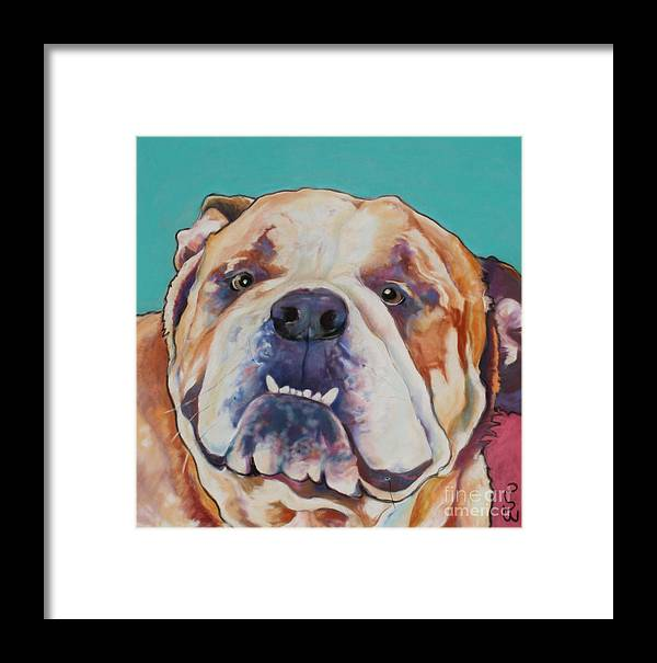 Pat Saunders-white Pet Portraits Framed Print featuring the painting Game Face  by Pat Saunders-White