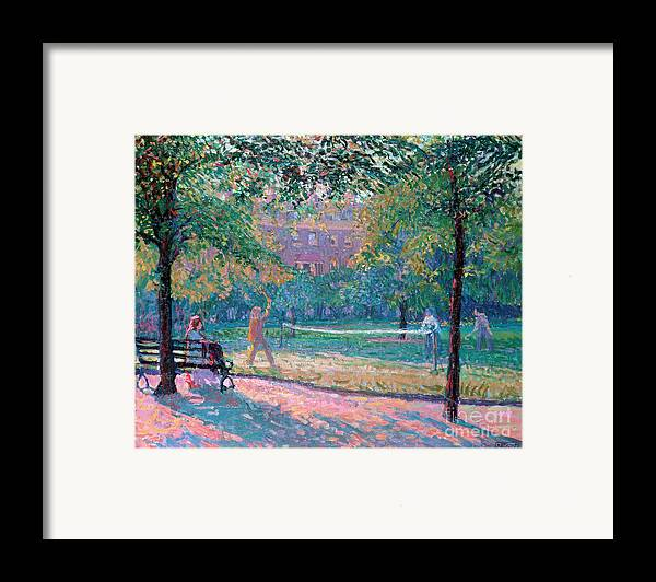 Game Framed Print featuring the painting Game Of Tennis by Spencer Frederick Gore