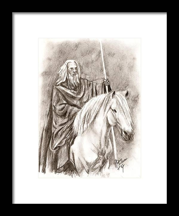 The Lord Of The Rings Framed Print featuring the drawing Gandalf With Shadowfax by Maren Jeskanen