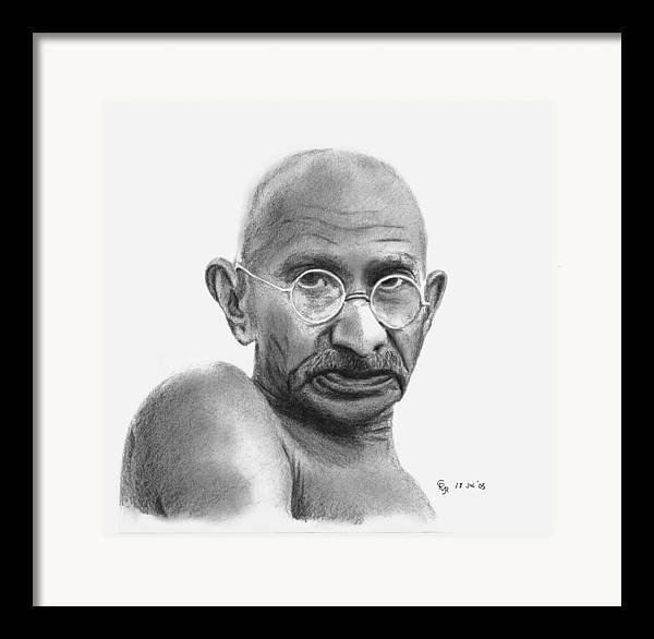 Gandhi Framed Print featuring the drawing Gandhi by Charles Vogan
