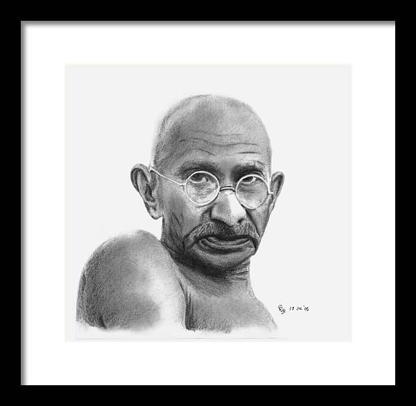 Gandhi Framed Print featuring the drawing Gandhi by Charles Vogan