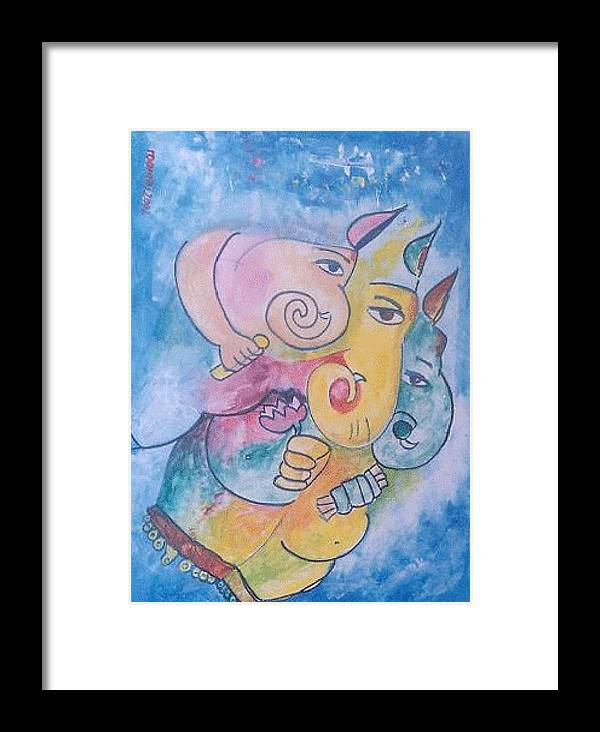 Painting Framed Print featuring the painting Ganesha by Rooma Mehra